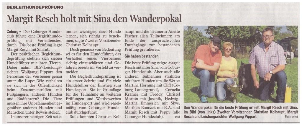 Coburger Tageblatt 03.09.2015
