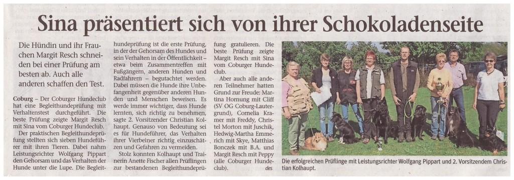 Neue Presse Coburg 03.09.2015